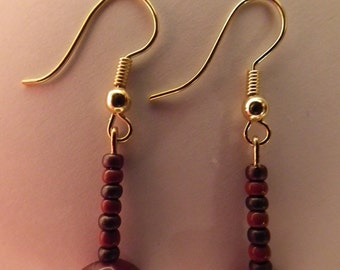 Handmade Beaded Dangle & Drop Earrings with Brown and Dark Purple Beads