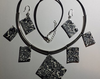 Black Silver White  set - earrings and necklace