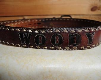 """Vintage Embossed Leather Belt """"WOODY"""""""