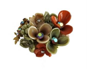 Vintage Wired Plastic Flower & AB Rhinestone Brooch Pin