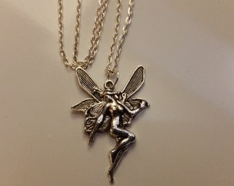 """Lovely tibetan silver large Fairy on 18"""" silver plated chain + gift bag"""