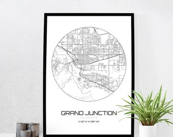 Grand Junction Map Print City Map Art Of Grand Junction Colorado Poster Coordinates Wall