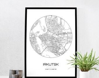 Irkutsk Map Print - City Map Art of Irkutsk Russia Poster - Coordinates Wall Art Gift - Travel Map - Office Home Decor