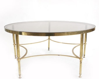 Vintage Gold Round Glass Coffee Table