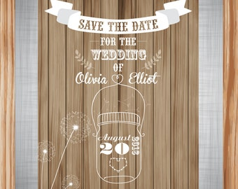 Personalized & Printable Rustic Wood Country Save The Date - 5 x 7 inches