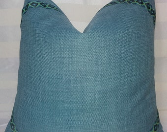 Duck Egg  Cushion with Ribbon Detail, Linen Throw Pillow
