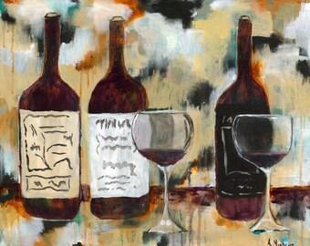 Wine Acrylic Painting Giclée Print Art Wall Decor