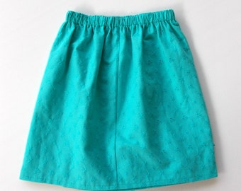 Girls Turquoise Broderie Anglaise Skirt Size 7