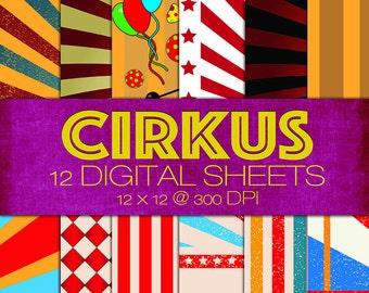 Circus Themed Digital Paper Pack