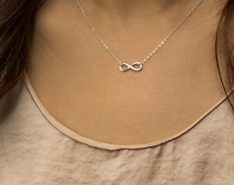 Infinity link sterling silver necklace