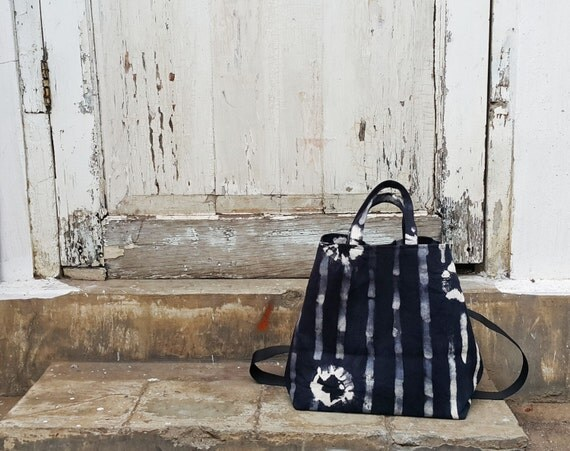 Nero Fiore Trocadero - black and white flowers and stripe cotton denim bucket bag by Canzone