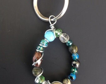 Tear drop wire Crystal & Beads keychain