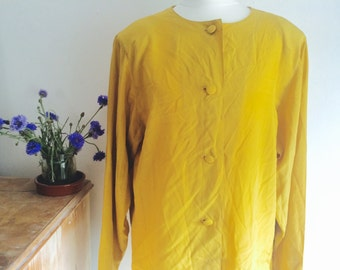 Silk Mustard Vintage Max Mara Blouse with Beautiful Buttons