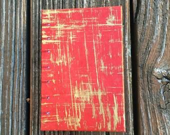 Travel Journal, Small Notebook, Pocket Planner, Handmade Sketchbook, Unique Journal, Red Journal, Writing Journal, Hardcover Sketchbook