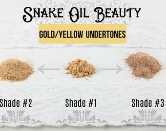 SAMPLE PACK-3 Shades-for Gold Undertones- TENACITY Foundation Powder-Mineral Makeup