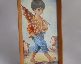 "1960s Dallas Simpson Framed Glazed Print - Kitsch Big Eyed Art 8 1/2"" x 4 1/2"""