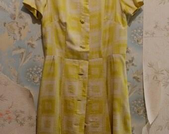 Yellow silk 60s dress
