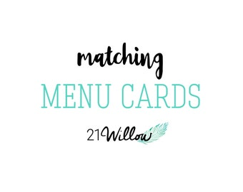 Matching Menu Cards or Name Cards, Tabletop Cards
