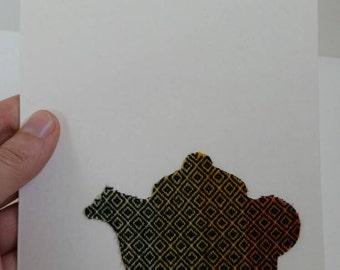 Handmade Greeting Card - Girasol DW - Teapot - Girasol Wrap Scrap - Multicolored