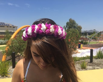 Purple and white flower head band, Festival head band.