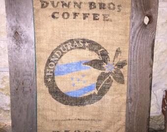 Framed Dunn Bros Burlap Coffee Bag, Honduras