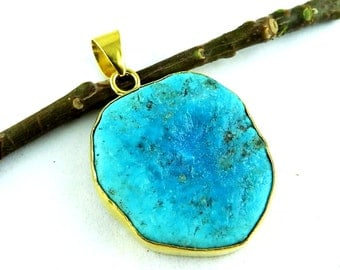 American Sparkling Blue Truquoise Gold Plated Pendant