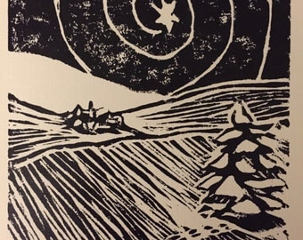 Peace...to Men of Goodwill--Block Print Christmas Card