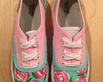 Custom Handpainted Lilly Pulitzer Tie Up Canvas Sneakers