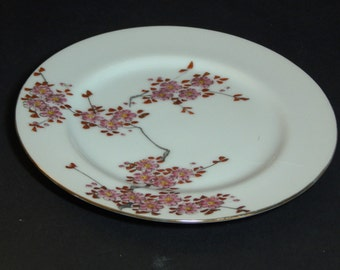 Japanese Plate with Pink Blossoms on Branch