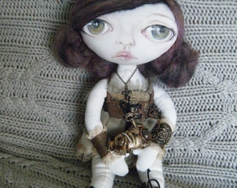 Handmade cloth doll with painted face OOAK, Layla