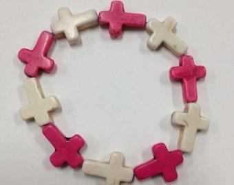 Pink & White Cross Bracelet