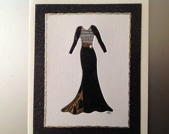 Iris Folded Elegant Evening Dress in Black and Gold Evening Gold