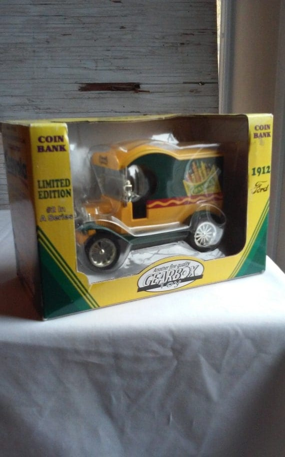 Gearbox Toy Coin Bank. #2 in a Series. Bank Depicts a 1912 Ford Crayola Delivery Car. Heavy Die Cast Metal Locking Bank with Detachable Key.
