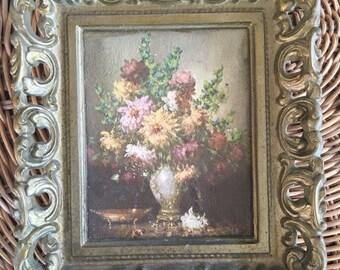 Vintage Brass Framed Floral Wall Decor
