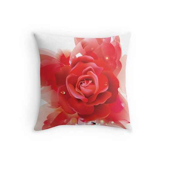 Bed Pink Flower Pillow Pink Flower Decorative by AnhHueDesign