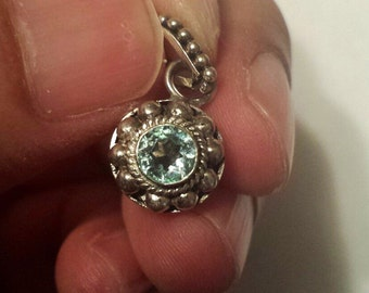 Sterling Silver .925 Pendant With Blue Stone