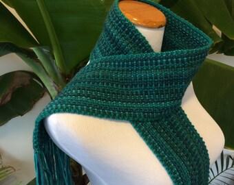 Unique Artwear Long Scarf in Green Shades - Wool, rayon, alpaca