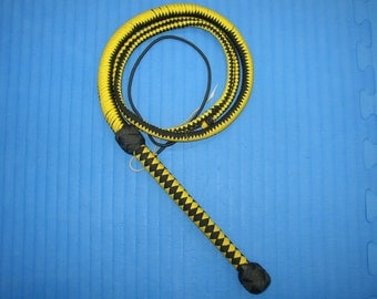 6 Foot Handcrafted Paracord Bullwhip - Yellow + Black