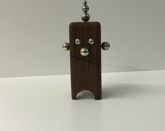 Funny Wood clown-magnetic Character in Walnut-Walnut Magnetic Clown