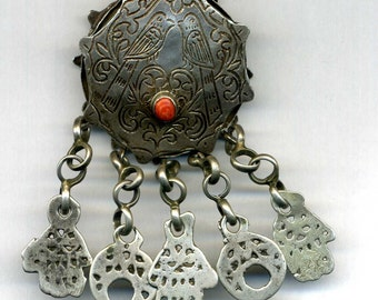 Morocco Old Silver Moroccan Ethnic Tribal Koran Box with coral
