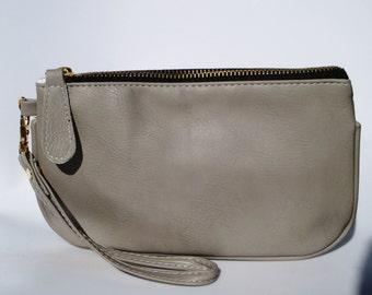 Taupe leather wristlet - Bridesmaid Gift