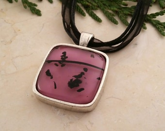 Fused Glass Pink Pendant in Antiqued Pendant Setting
