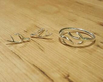 Sterling Silver Antler Set Stud Earrings & Ring