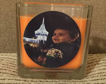Personalized Photo 12oz Cube Soy Candle