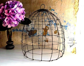 Wire Birdcage Hand Made in Black Iron With 2 Iron and fabric Butterfly.