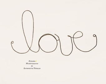 "Wire Word ""love"" Wall Hanging Art"