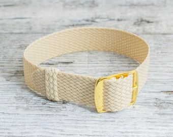 Beige perlon strap with gold buckle ( 18mm ) waterproof nylon strap, watch strap, khaki perlon, watch band, perlon band
