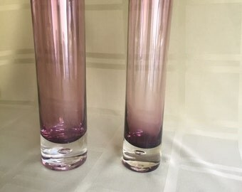 Purple glass bud vases