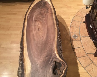 Black walnut live edge coffee table / bench