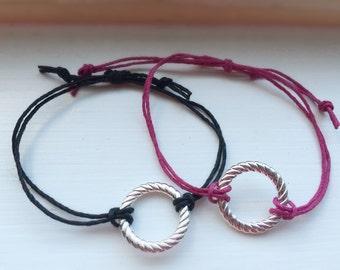 Handmade Adjustable Customizable Hemp Circle Charm Bracelet
